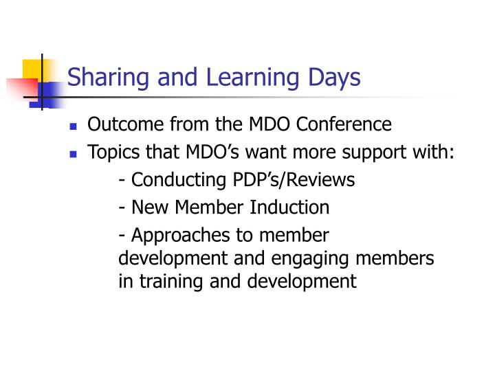 Sharing and Learning Days