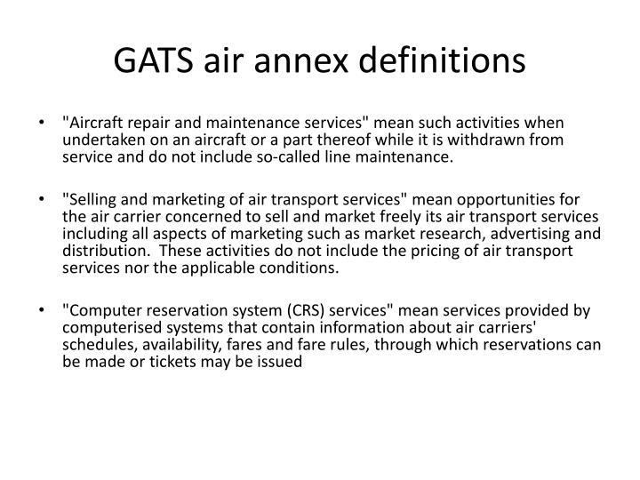 GATS air annex definitions