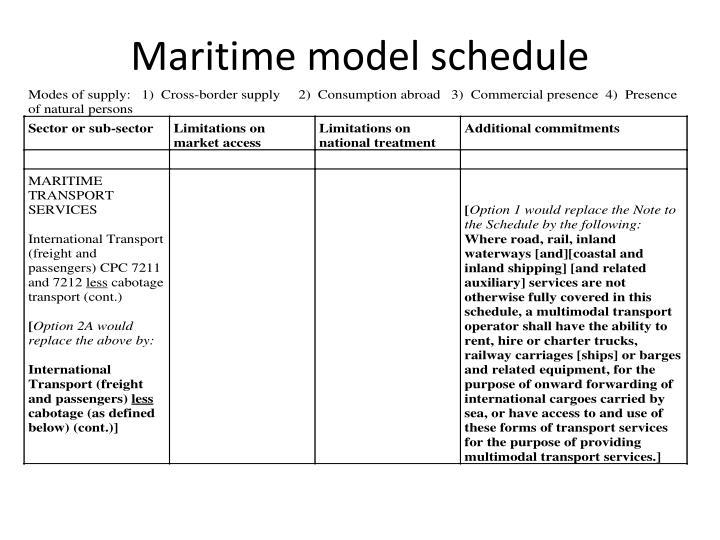 Maritime model schedule