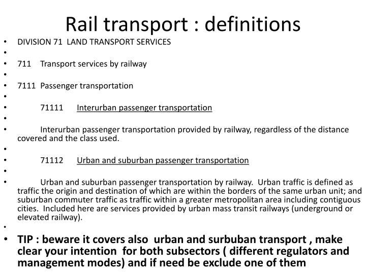 Rail transport : definitions