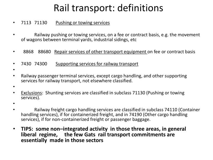 Rail transport: definitions