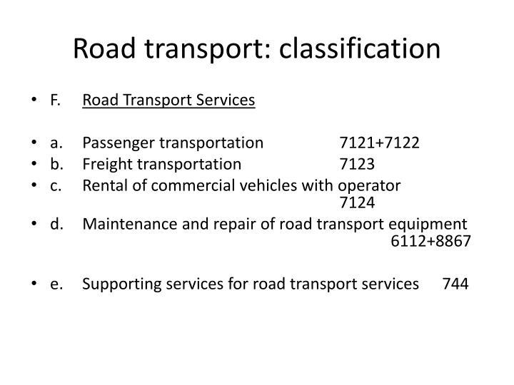 Road transport: classification