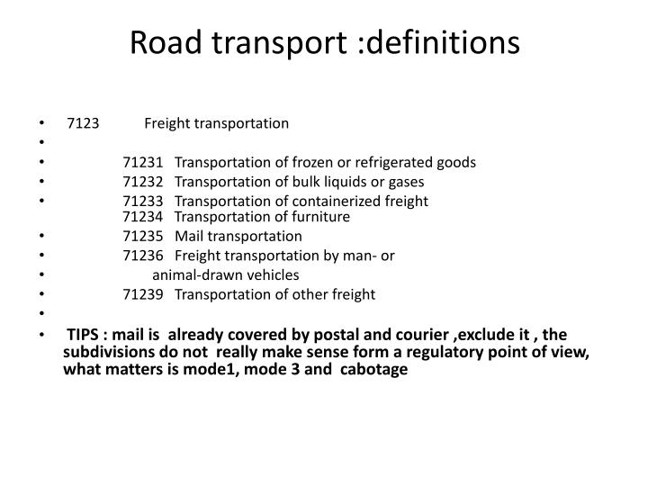 Road transport :definitions