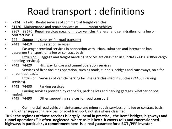 Road transport : definitions