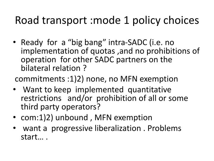 Road transport :mode 1 policy choices