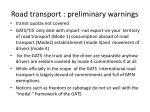 road transport preliminary warnings