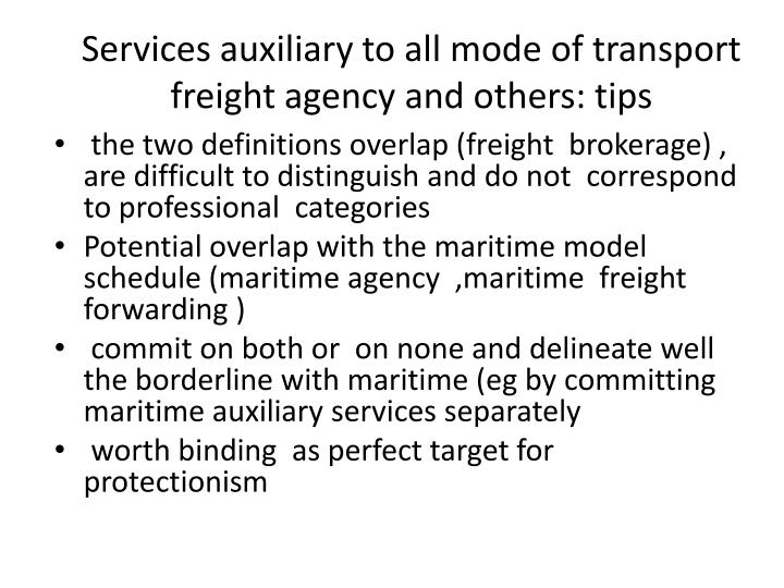 Services auxiliary to all mode of transport