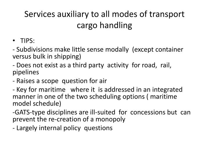 Services auxiliary to all modes of transport