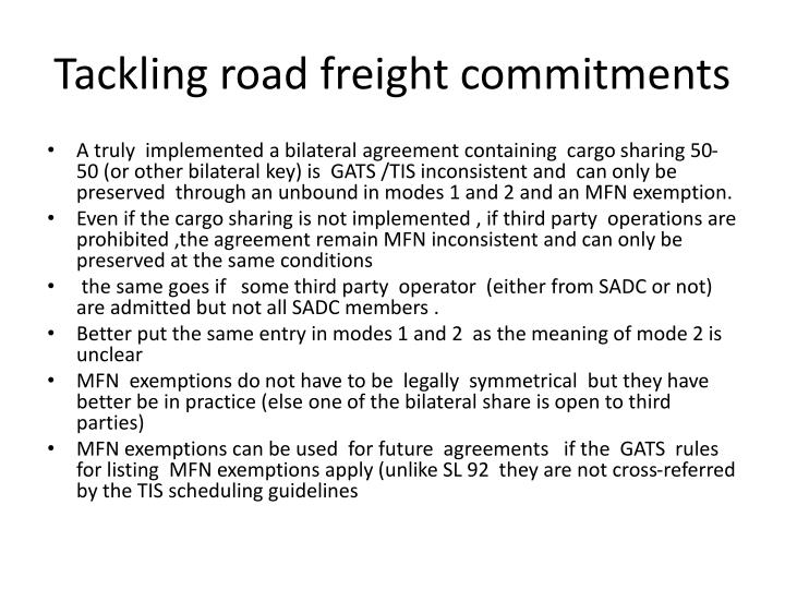 Tackling road freight commitments