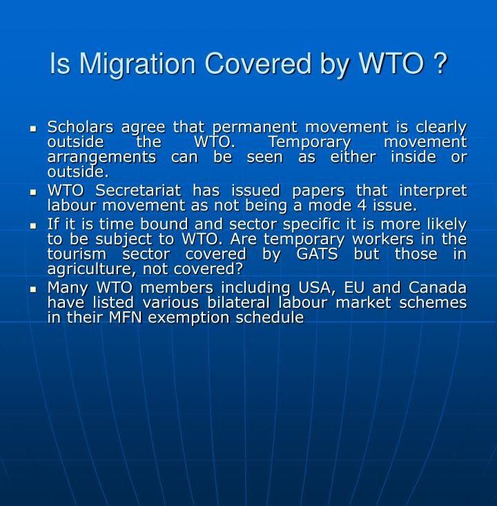 Is Migration Covered by WTO ?