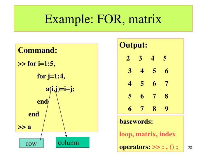 Example: FOR, matrix