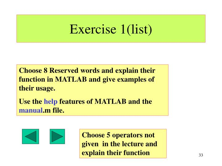 Exercise 1(list)