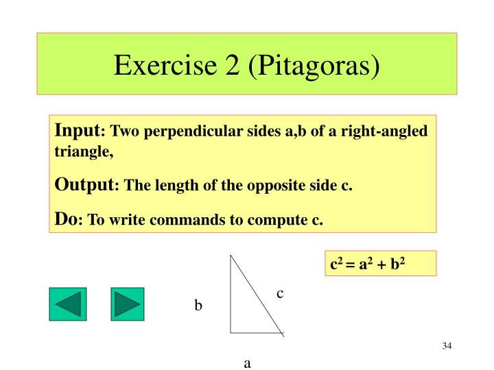 Exercise 2 (Pitagoras)