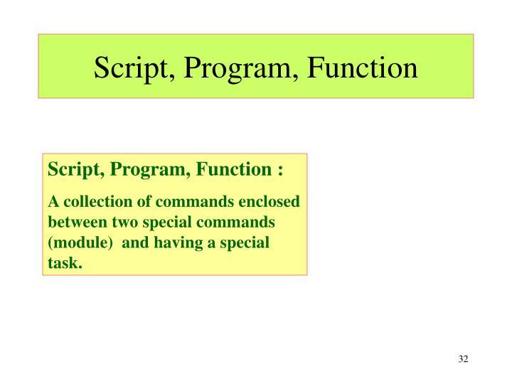 Script, Program, Function