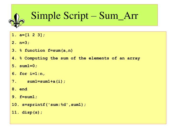 Simple Script – Sum_Arr