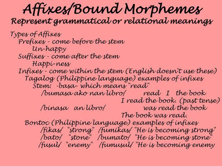 Affixes/Bound Morphemes