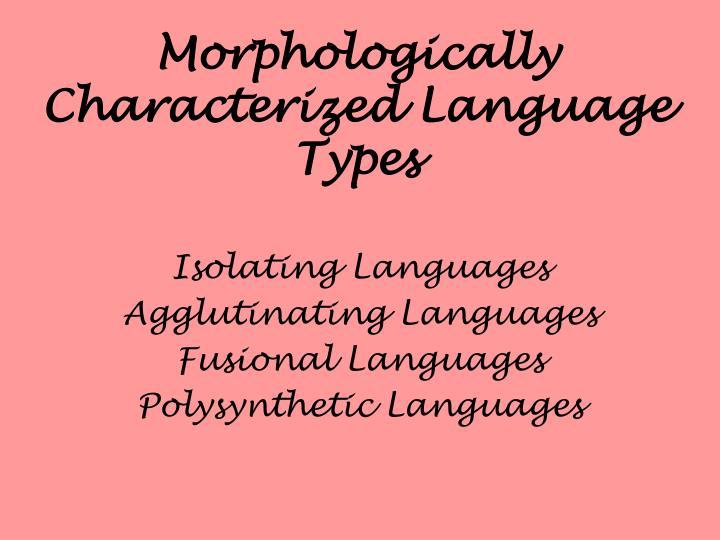 Morphologically Characterized Language Types