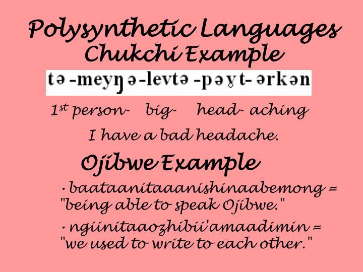 Polysynthetic Languages