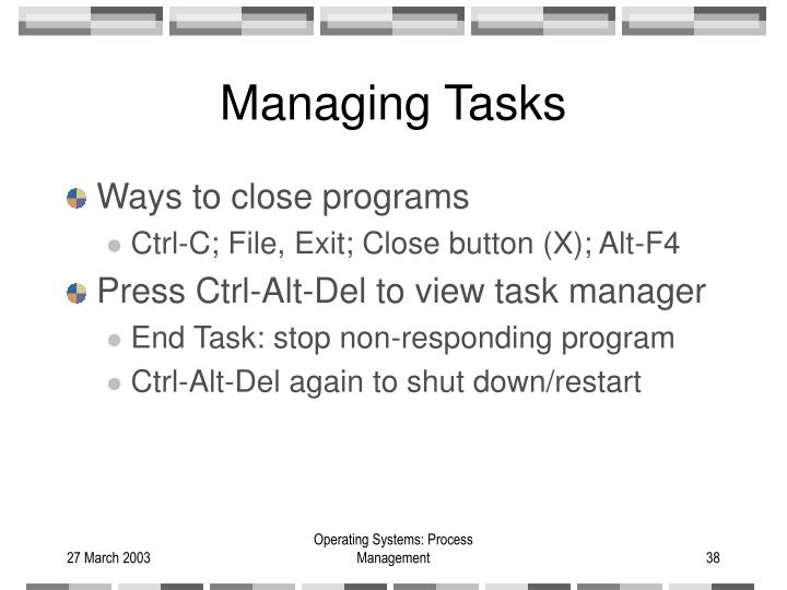 Managing Tasks