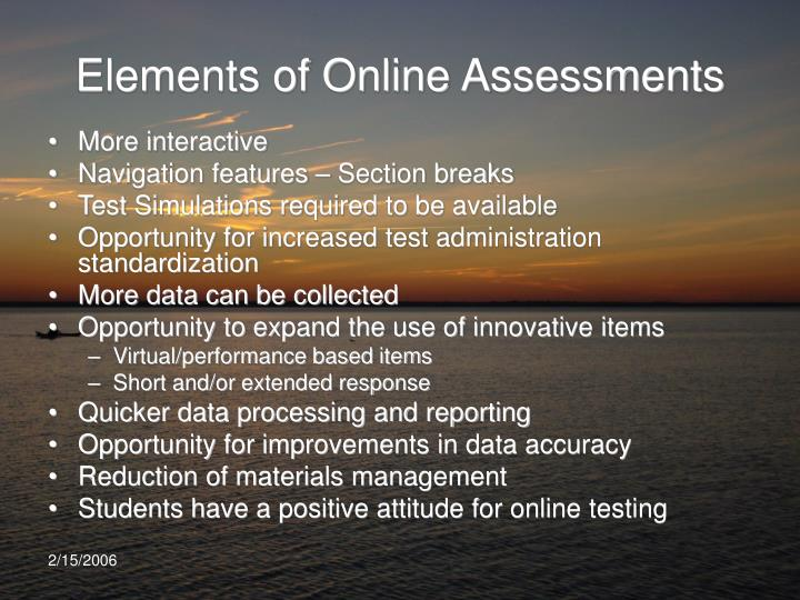 Elements of Online Assessments