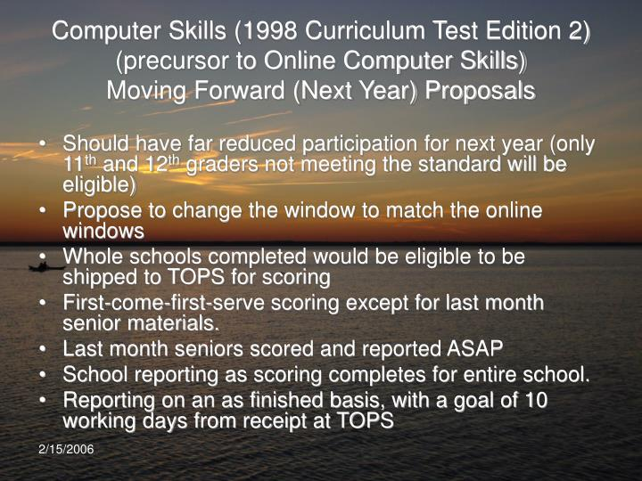 Computer Skills (1998 Curriculum Test Edition 2)