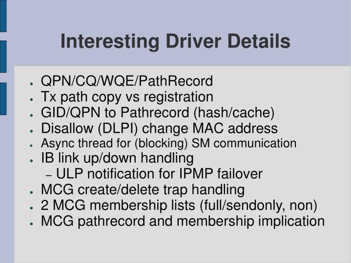 Interesting Driver Details
