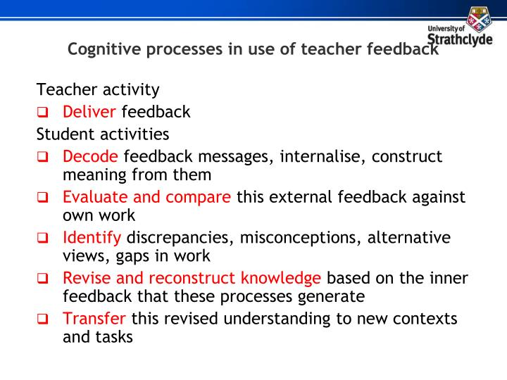 Cognitive processes in use of teacher feedback