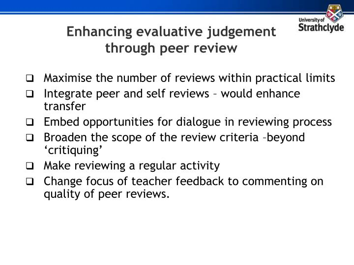Enhancing evaluative judgement