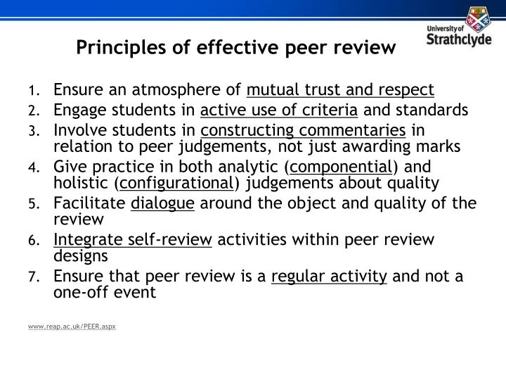 Principles of effective peer review