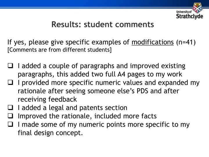 Results: student comments