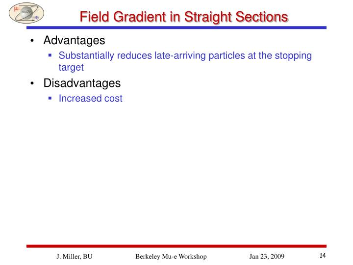 Field Gradient in Straight Sections
