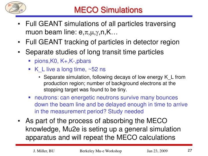 MECO Simulations