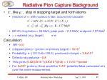 radiative pion capture background