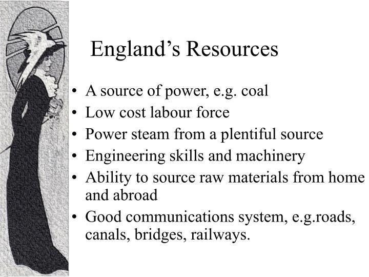 England's Resources