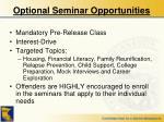 optional seminar opportunities