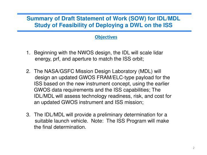 Summary of Draft Statement of Work (SOW) for IDL/MDL Study of Feasibility of Deploying a DWL on the ISS
