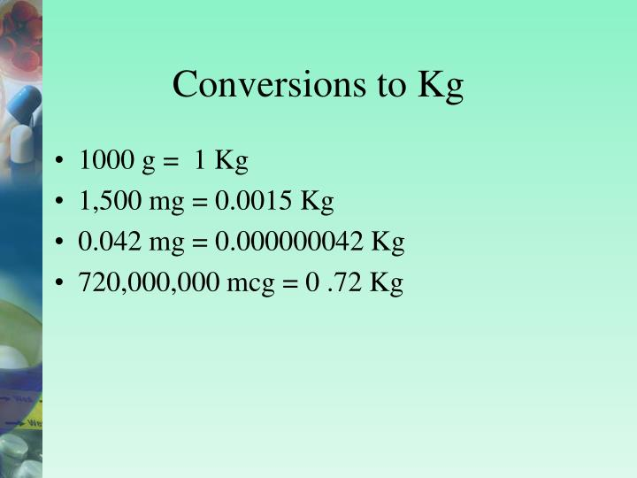 Conversions to Kg