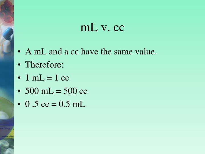 mL v. cc