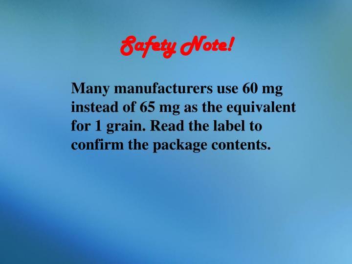 Safety Note!