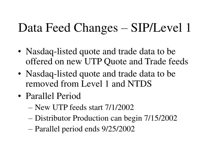 Data Feed Changes – SIP/Level 1
