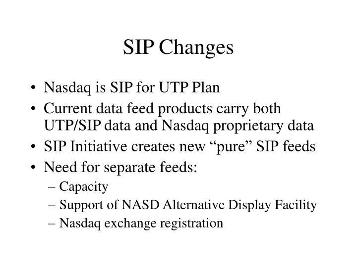 SIP Changes