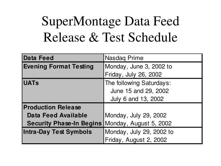 SuperMontage Data Feed
