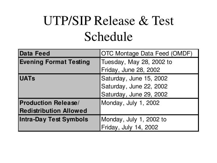 UTP/SIP Release & Test Schedule