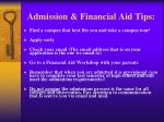 admission financial aid tips
