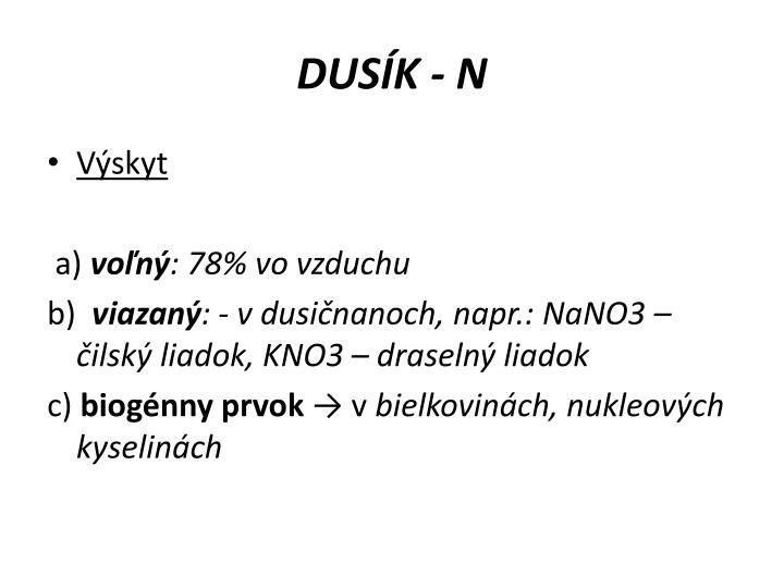 DUSÍK - N