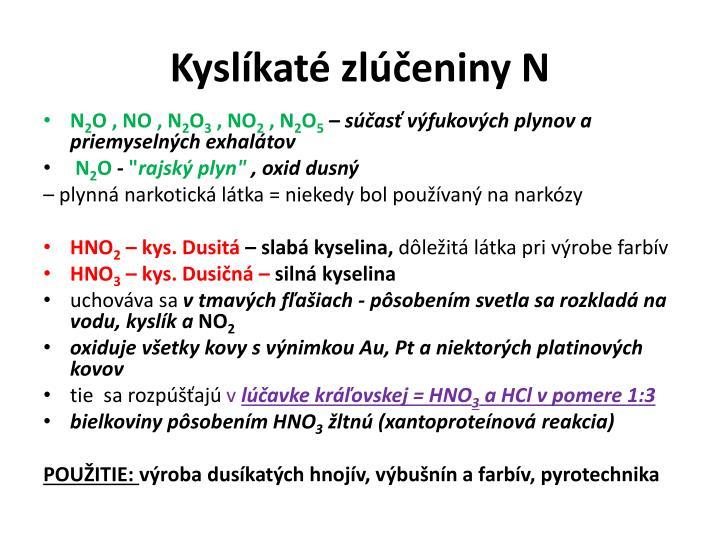 Kyslíkaté zlúčeniny N