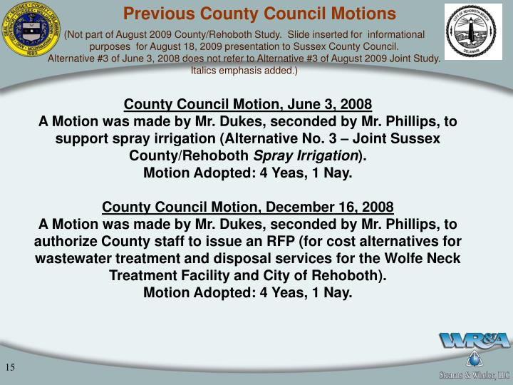 Previous County Council Motions