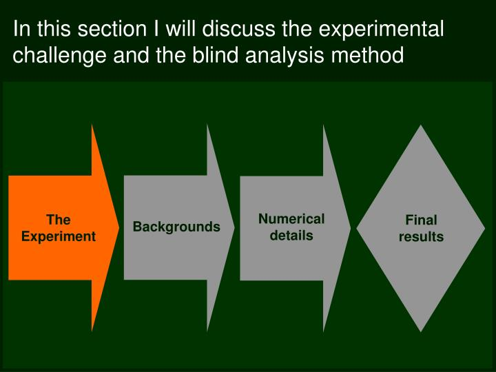 In this section I will discuss the experimental challenge and the blind analysis method