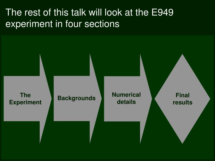 The rest of this talk will look at the E949 experiment in four sections