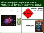 there s new physics beyond the standard model but we don t know exactly what it is yet